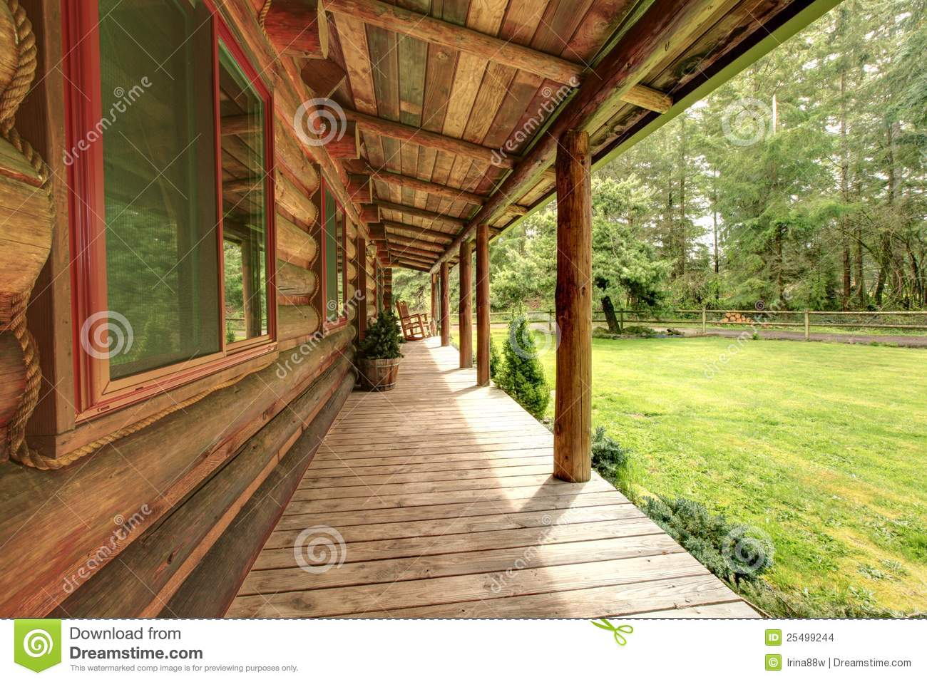 Front Porch Of The Old Rustic Log Cabin Stock Photo Image Of