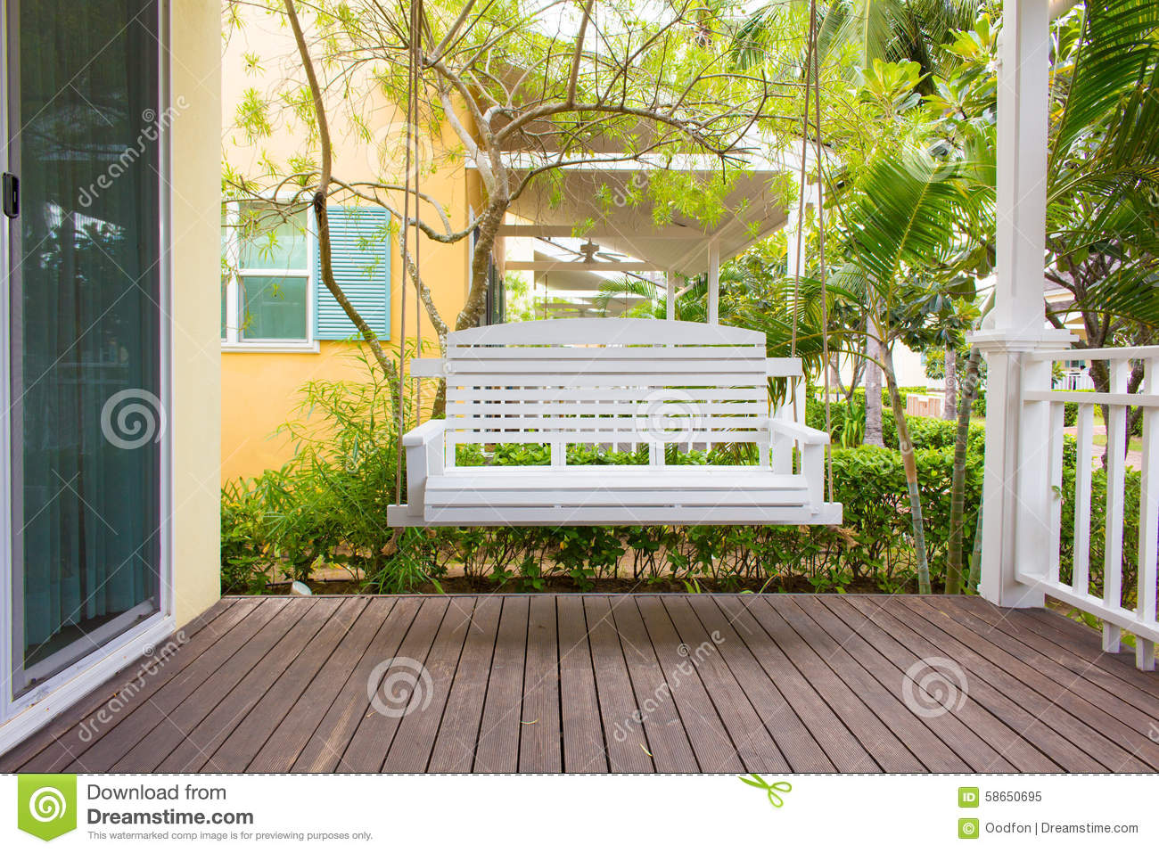 Front Porch With A Porch Swing Stock Image Image Of
