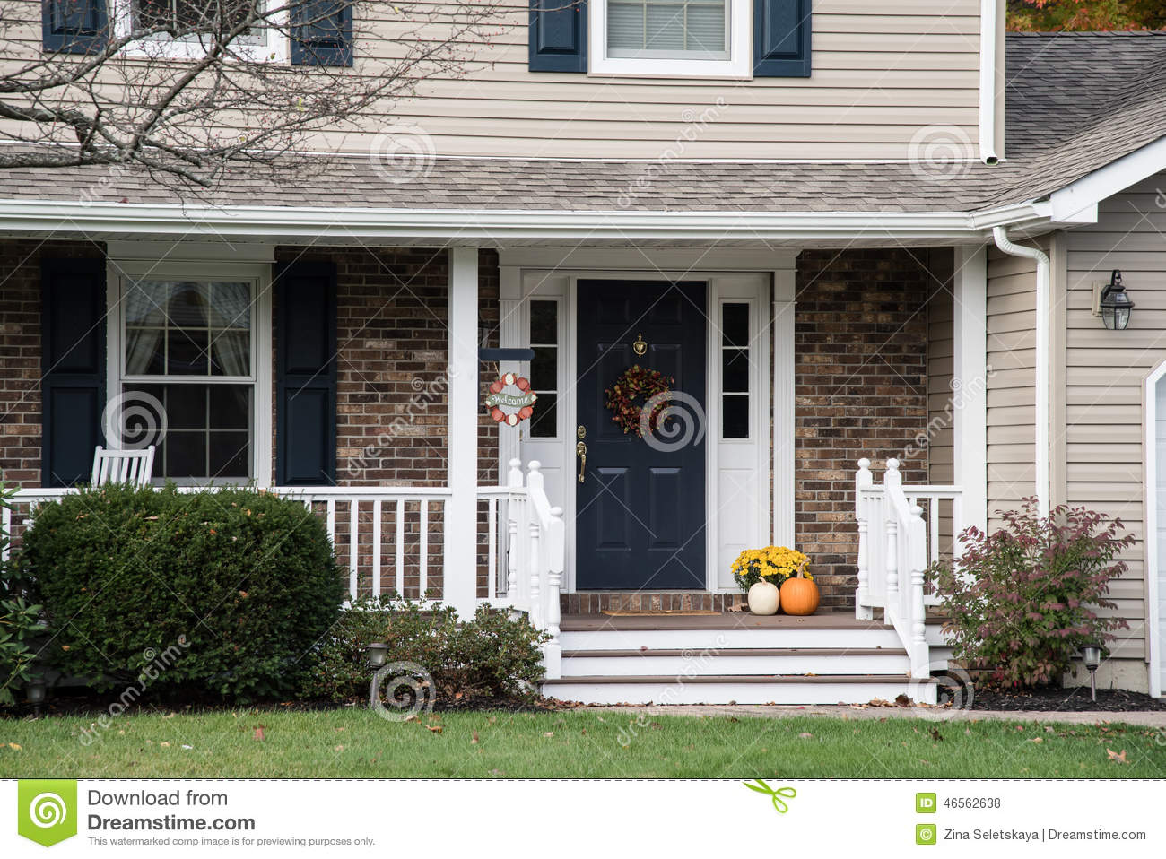 front porch of resedential home with autumn decorations stock photo image 46562638. Black Bedroom Furniture Sets. Home Design Ideas