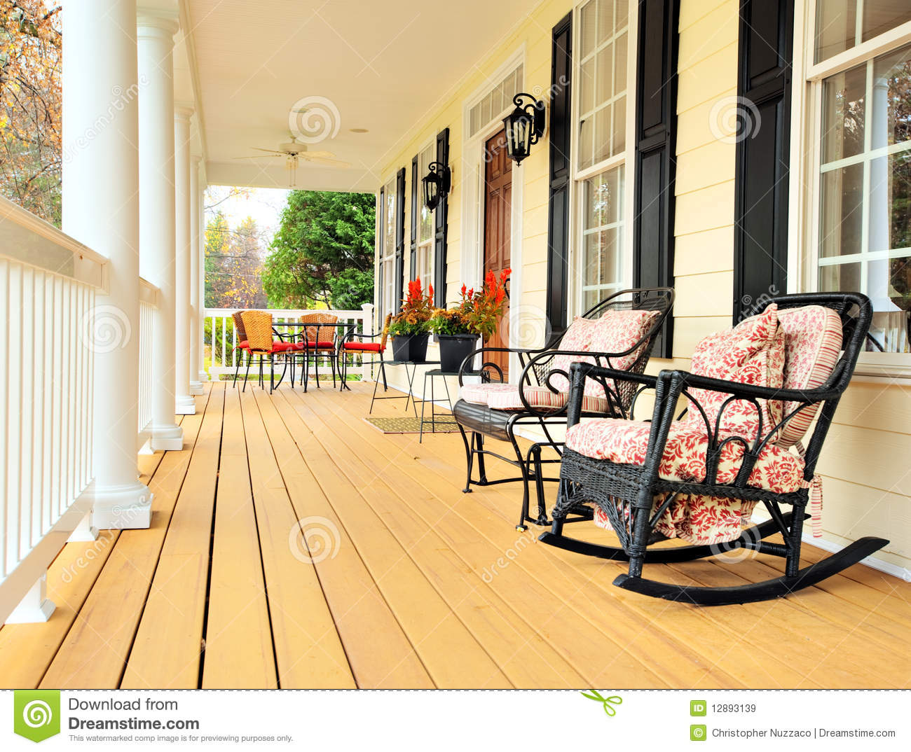 Covered front porch craftsman style home royalty free stock image - Front Porch Of Traditional Home Royalty Free Stock Images