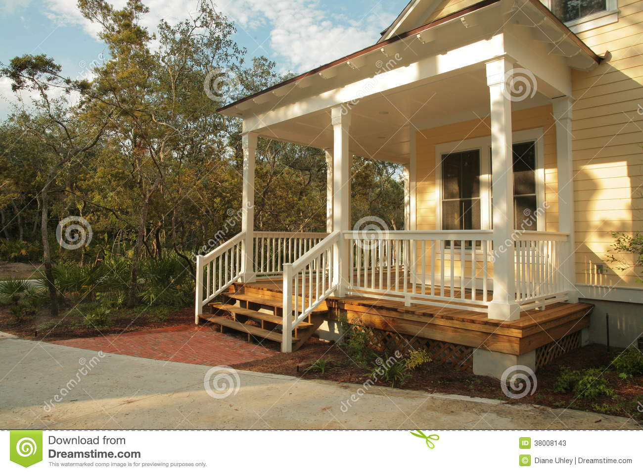 Front porch of yellow house stock photos image 38008143 for House with a porch