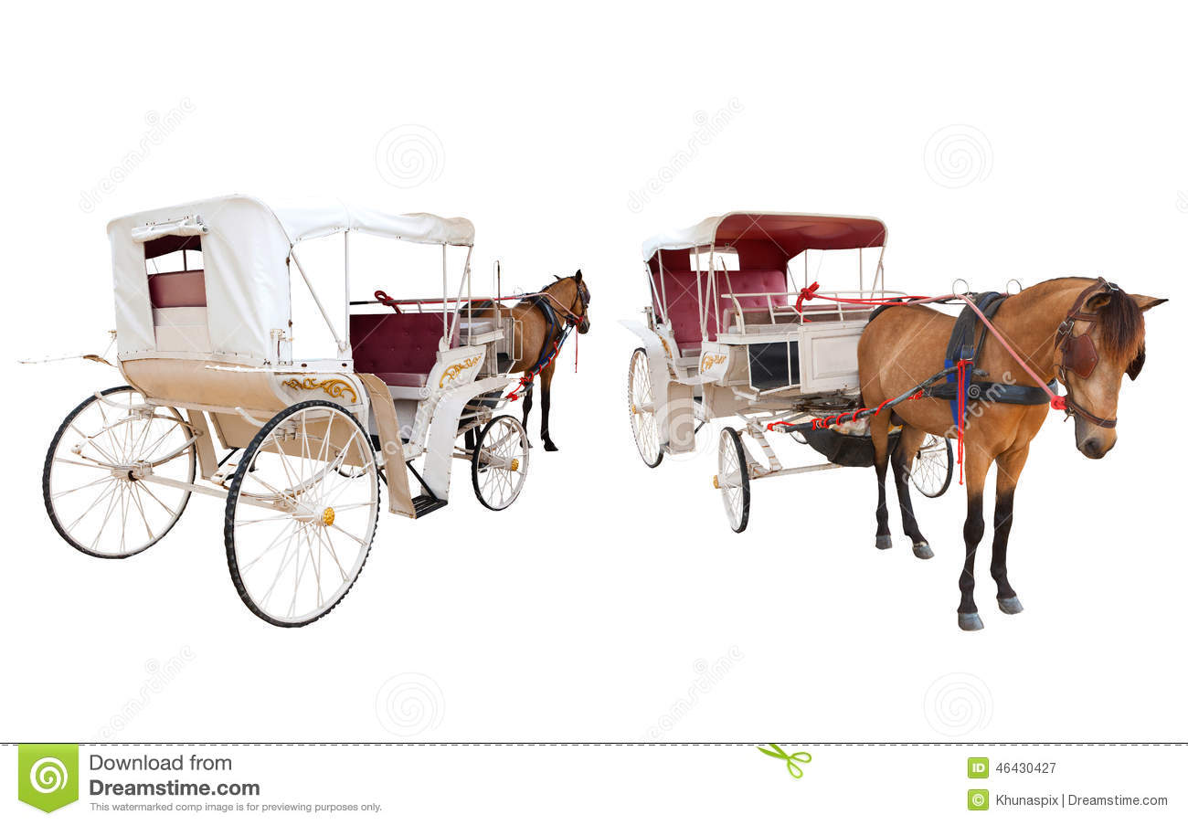 Front and rear view of horse fairy tale carriage cabin isolated