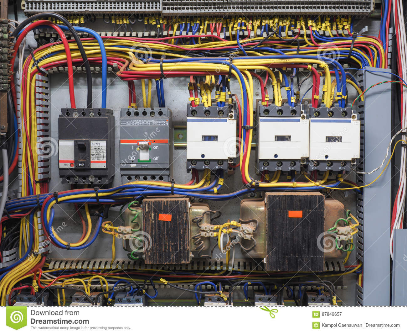 Red Wire Electrical Panel Wiring Data Schema 220 Diagram Front Shot Of Electric That Shows Blue Yellow Black Rh Dreamstime Com An Service