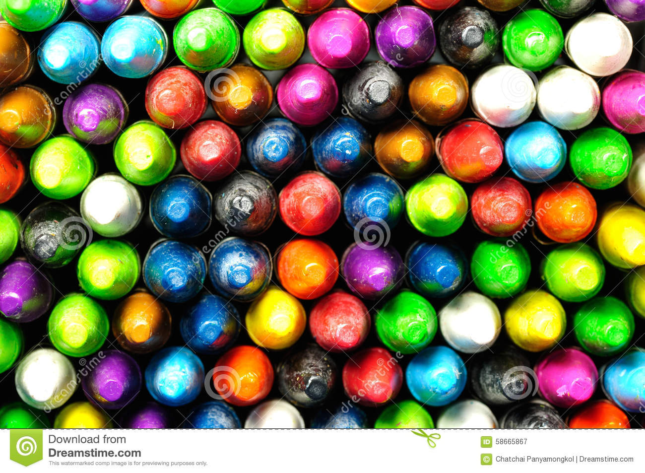 Crayon Colored Circle : Front side of colored crayon stock image