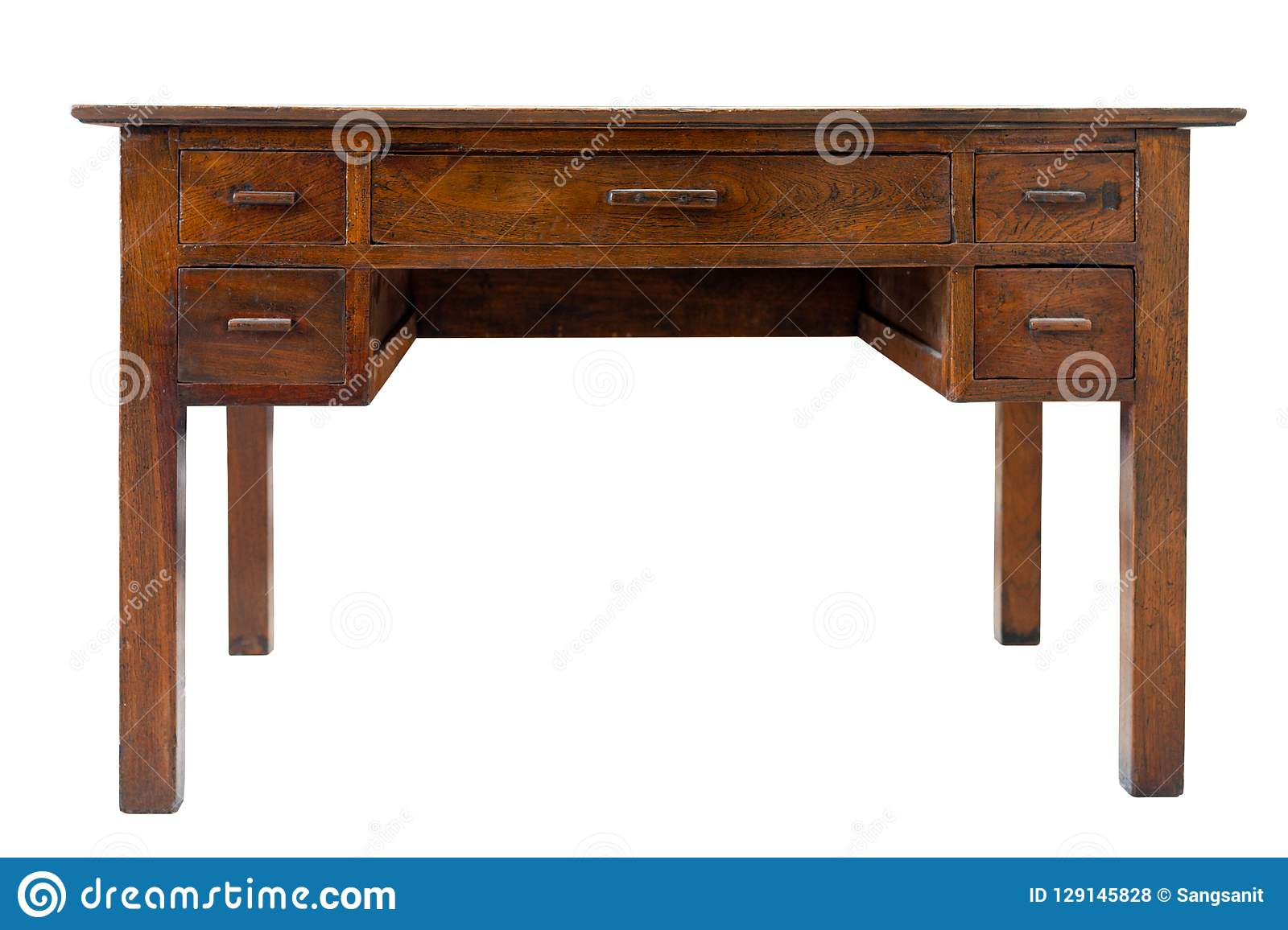 Old Vintage Brown Work Desk Wooden Table Stock Photo Image Of