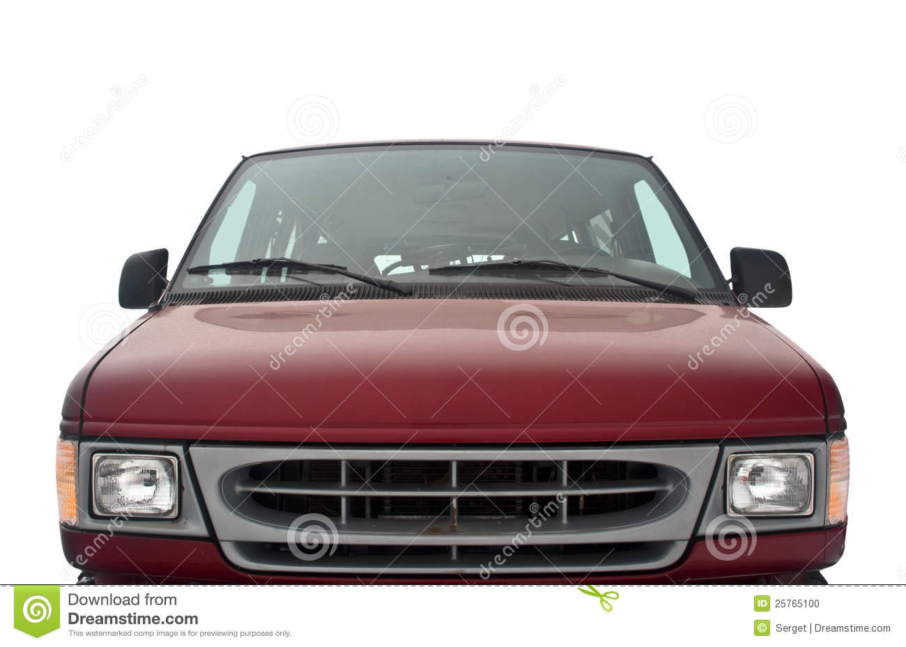 Front side of a red van on white background
