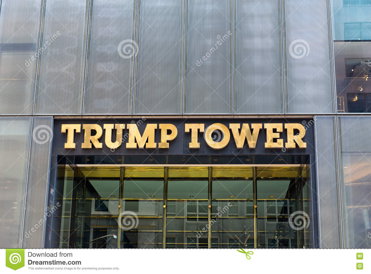 front signage on trump tower new york editorial stock photo image 64535378. Black Bedroom Furniture Sets. Home Design Ideas