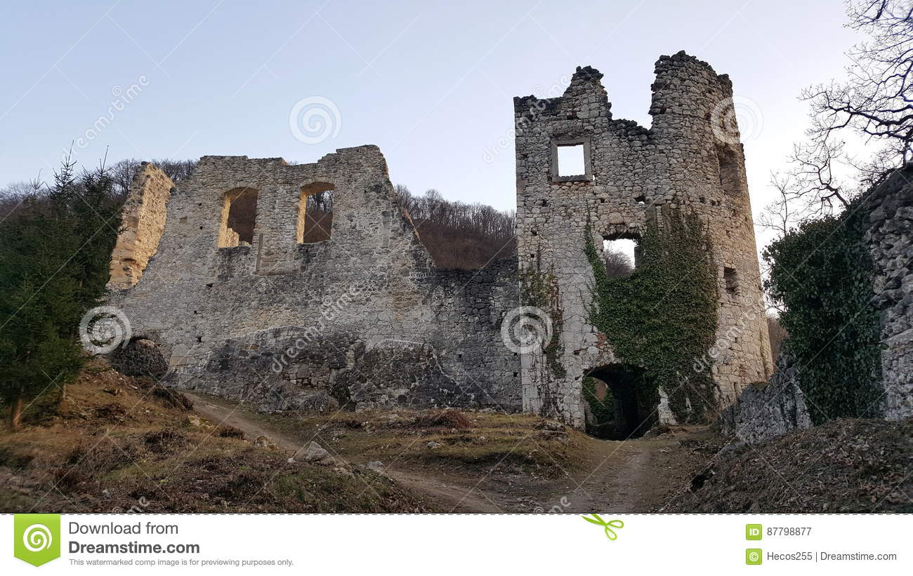Front stone castle wall ruins