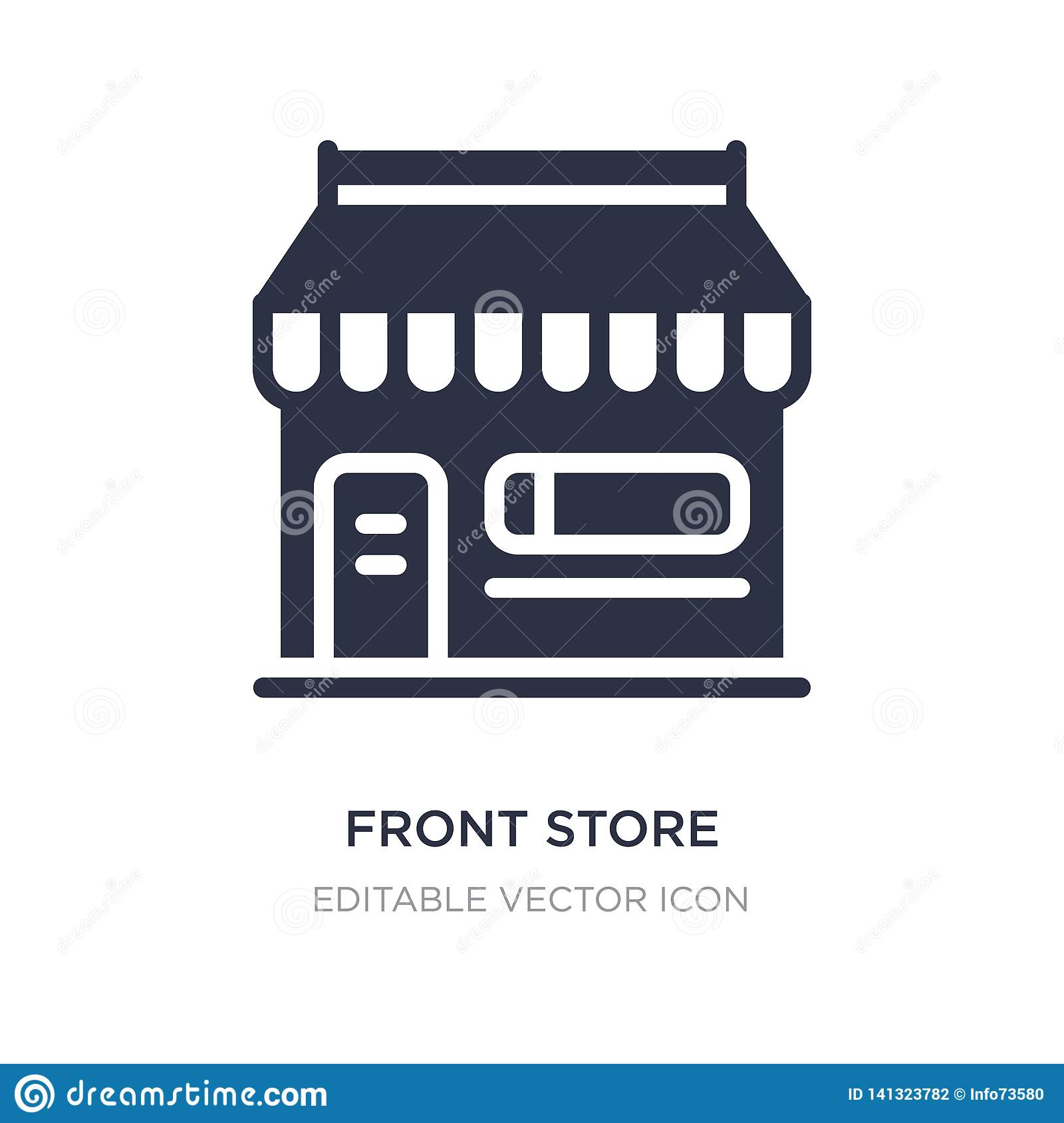 front store with awning icon on white background. Simple element illustration from Commerce concept