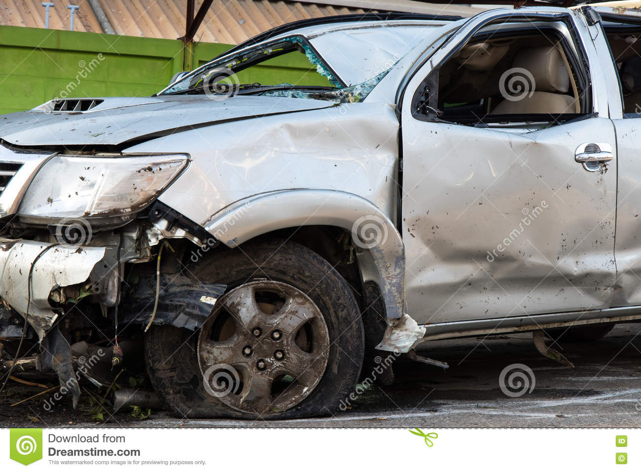 front tire and wrecked cars stock photo