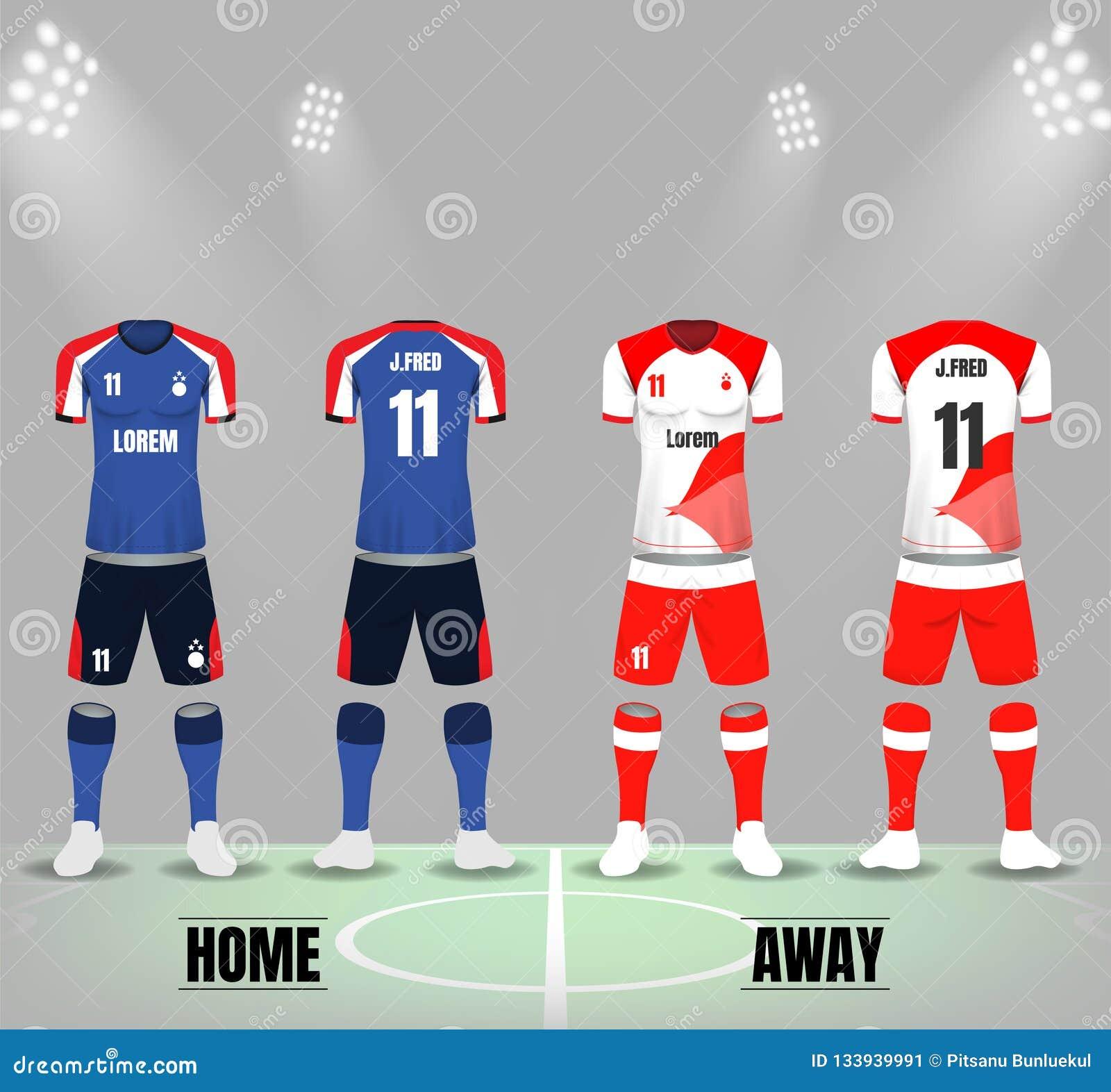 Front und Rückseite von Fußballuniformen in dunkelblauem und weißem rotem Col.