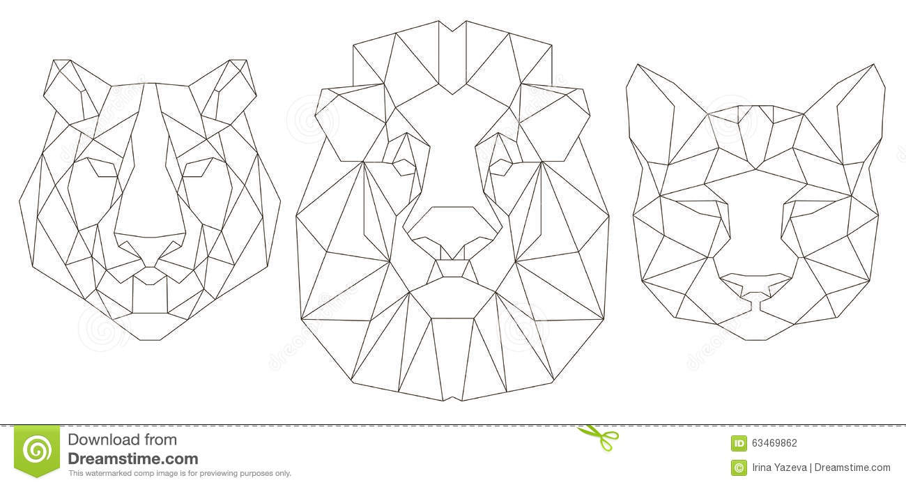 Tiger head triangular icon geometric trendy stock vector image - Royalty Free Vector Animal Coloring Design Geometric Head Icon Illustration Lion Puma Tattoo Tiger Trendy Triangular