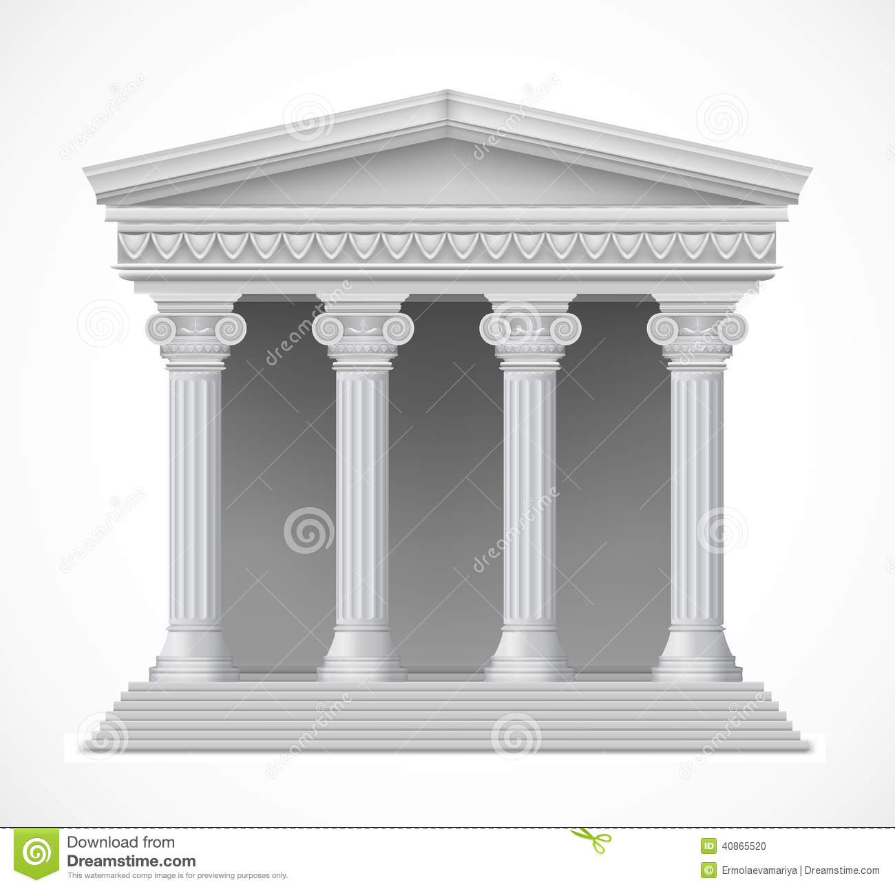Front View Of An Antique Greek Temple Vector Stock Vector