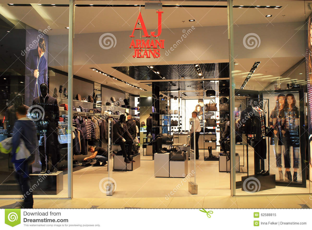 front view of armani jeans store kiev editorial image. Black Bedroom Furniture Sets. Home Design Ideas