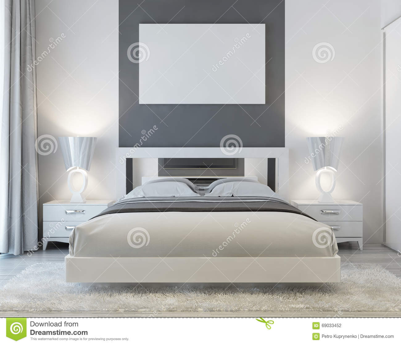 Front View Of Art Deco Bedroom. Stock Illustration - Image: 69033452