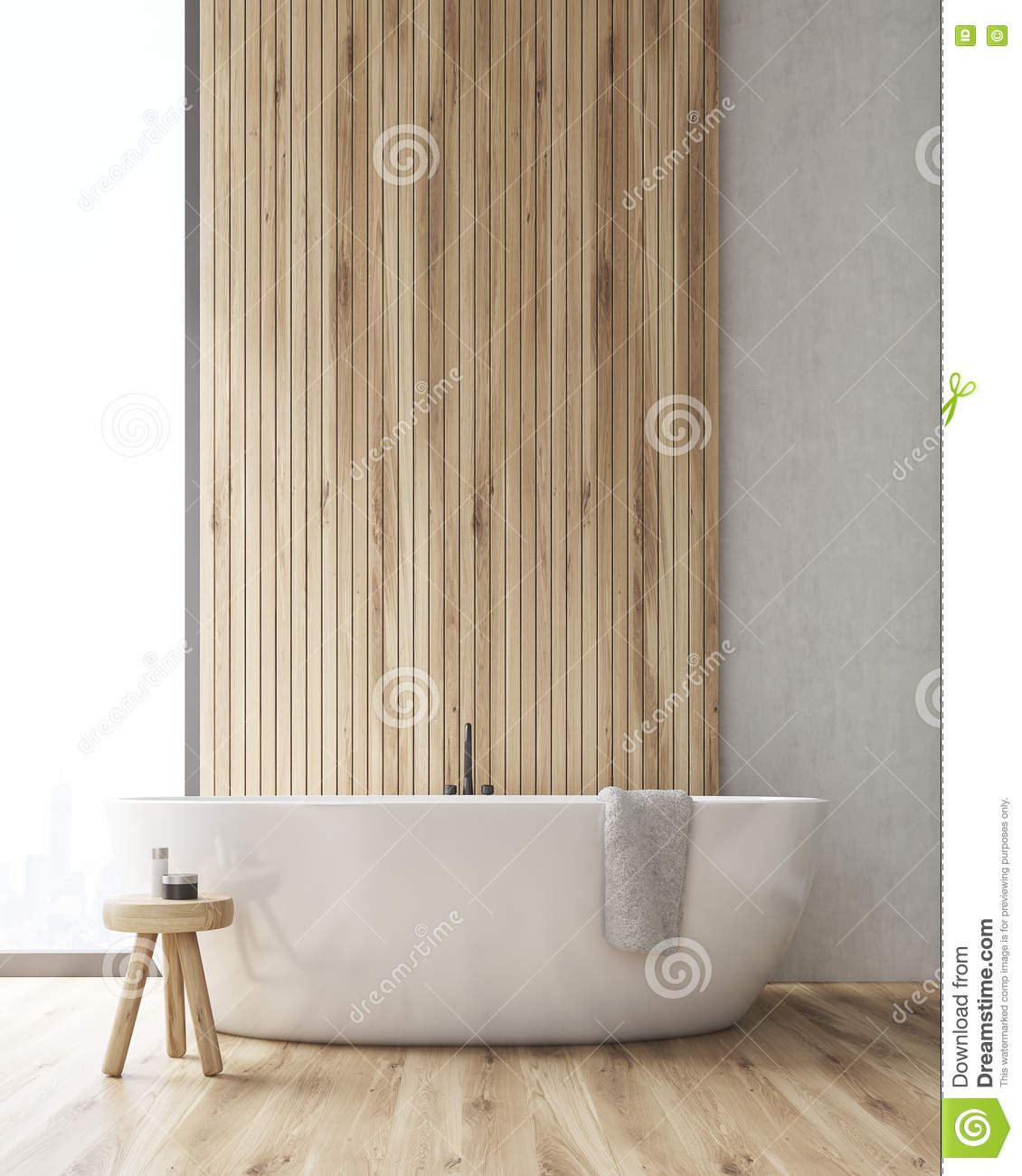 Front View Of A Bathroom With A Tub And A Wooden Wall Stock ...