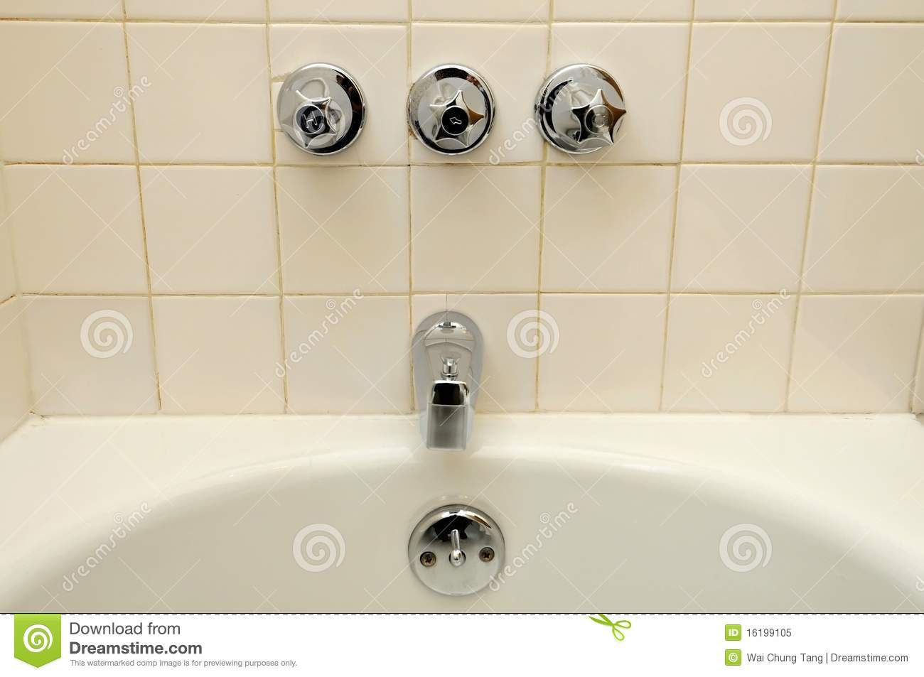 Front View Of Bathtub And Water Taps Stock Image - Image of design ...