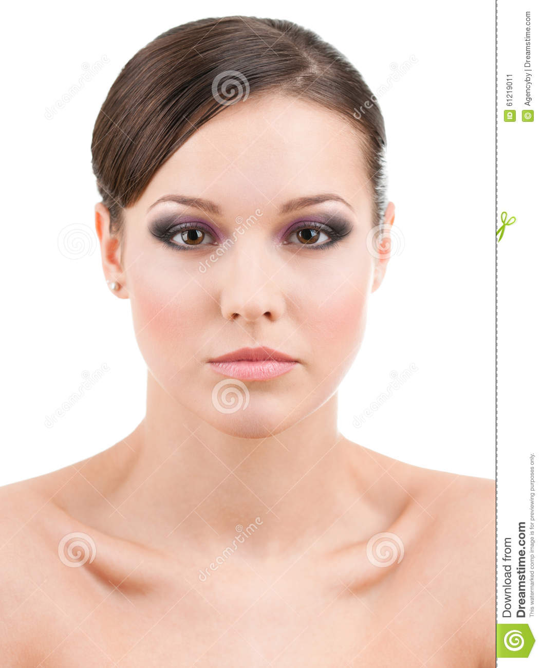 Front view of beautiful woman with makeup
