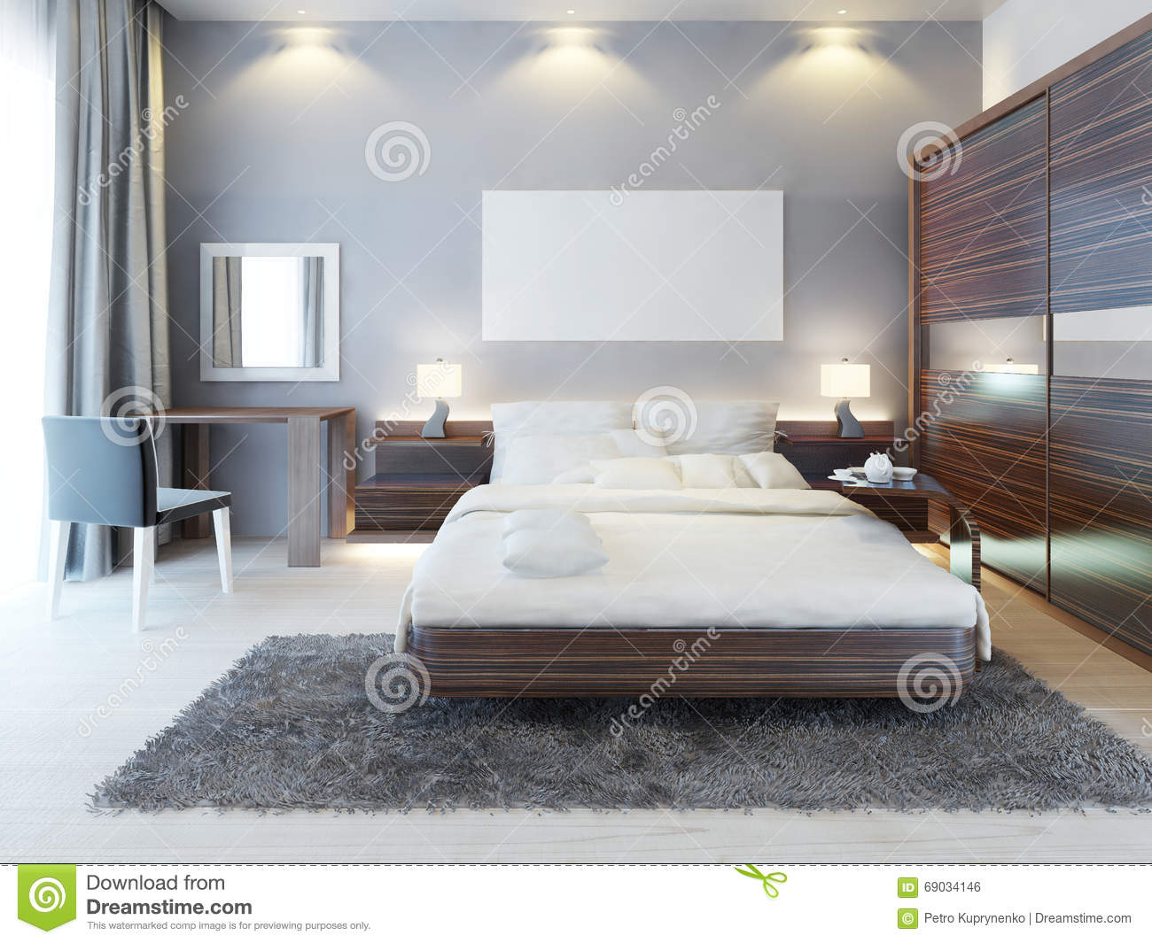 Front View Of The Bedroom In A Modern Style Stock