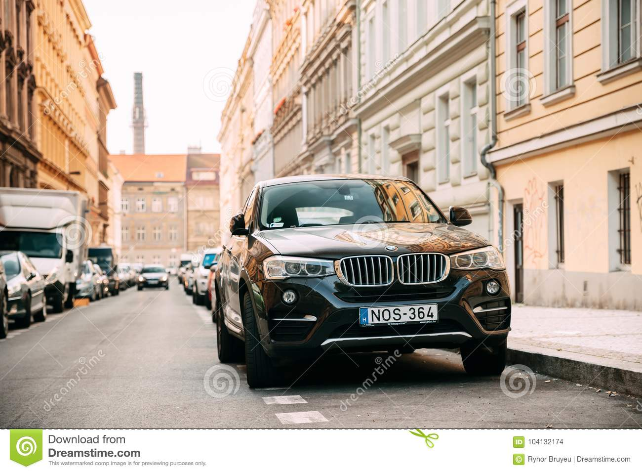 Front View Of Black Bmw X6 F16 Car Parked In Street Car Of Second