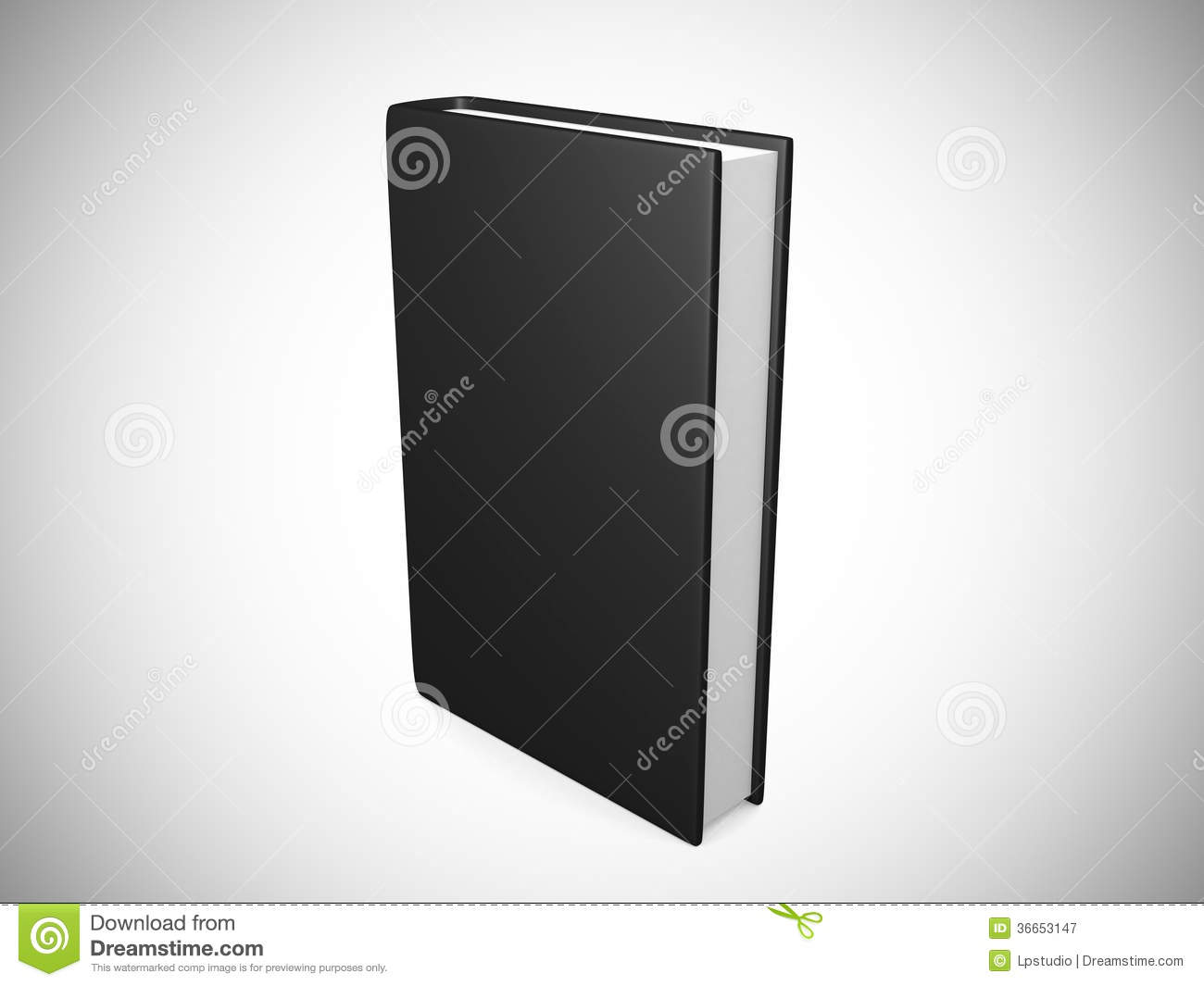 Book Cover Black Xl : Front view of blank book cover black stock illustration
