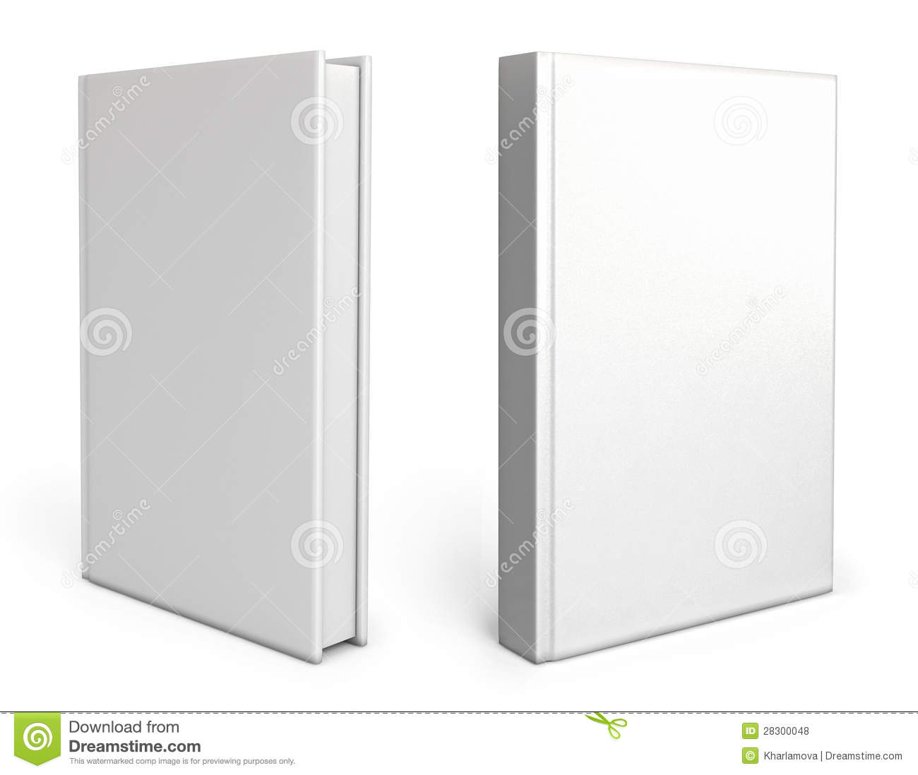 Book Cover On White : Front view of blank book cover white stock illustration