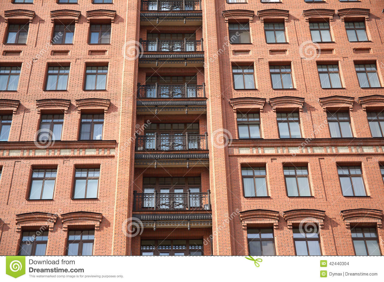 Front View Of Brick Wall Contemporary Apartment Bu Stock Photo Image 42440304