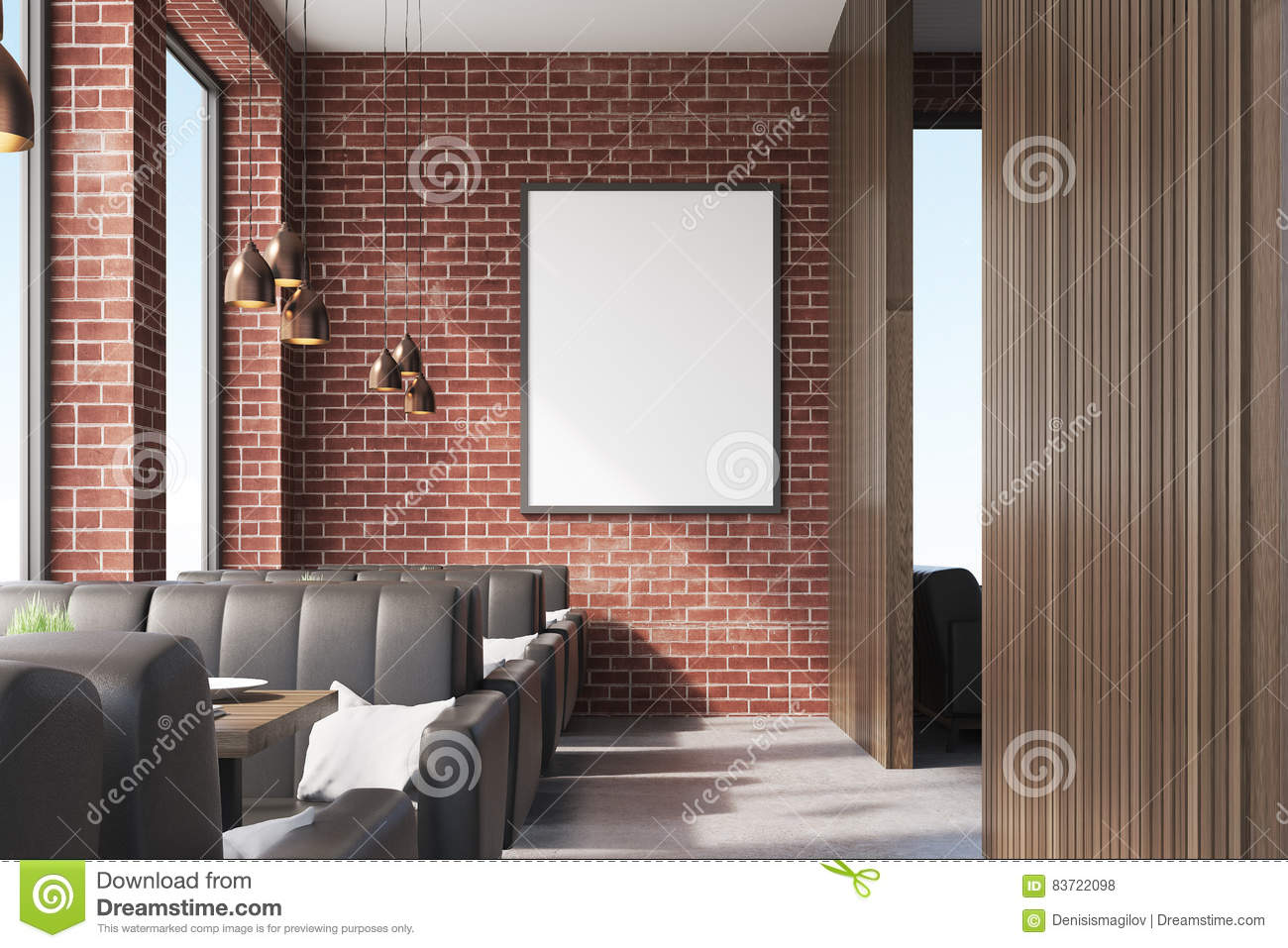 front view of cafe interior with sofas stock illustration - image