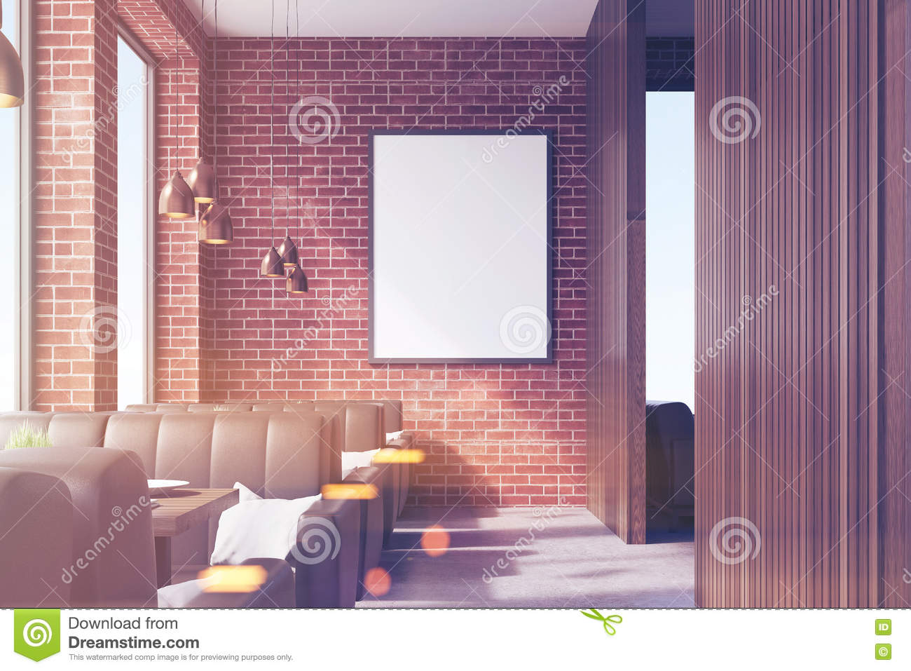 cafe interior with a poster, front stock illustration - image