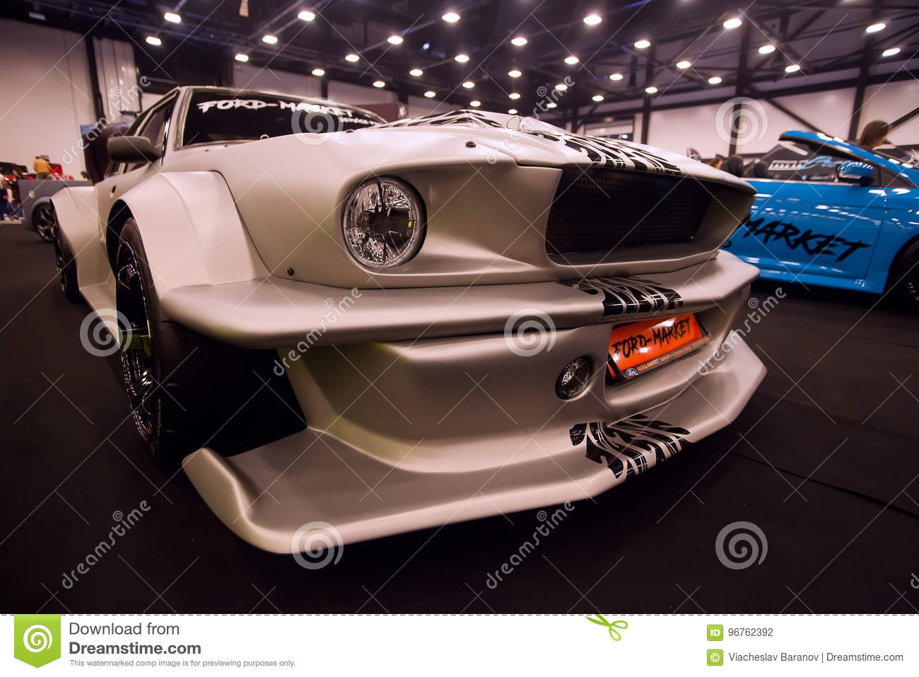 Saint petersburg russia jule 23 2017 front view of car ford mustang with tuning on royal auto show wide car fender and bumper