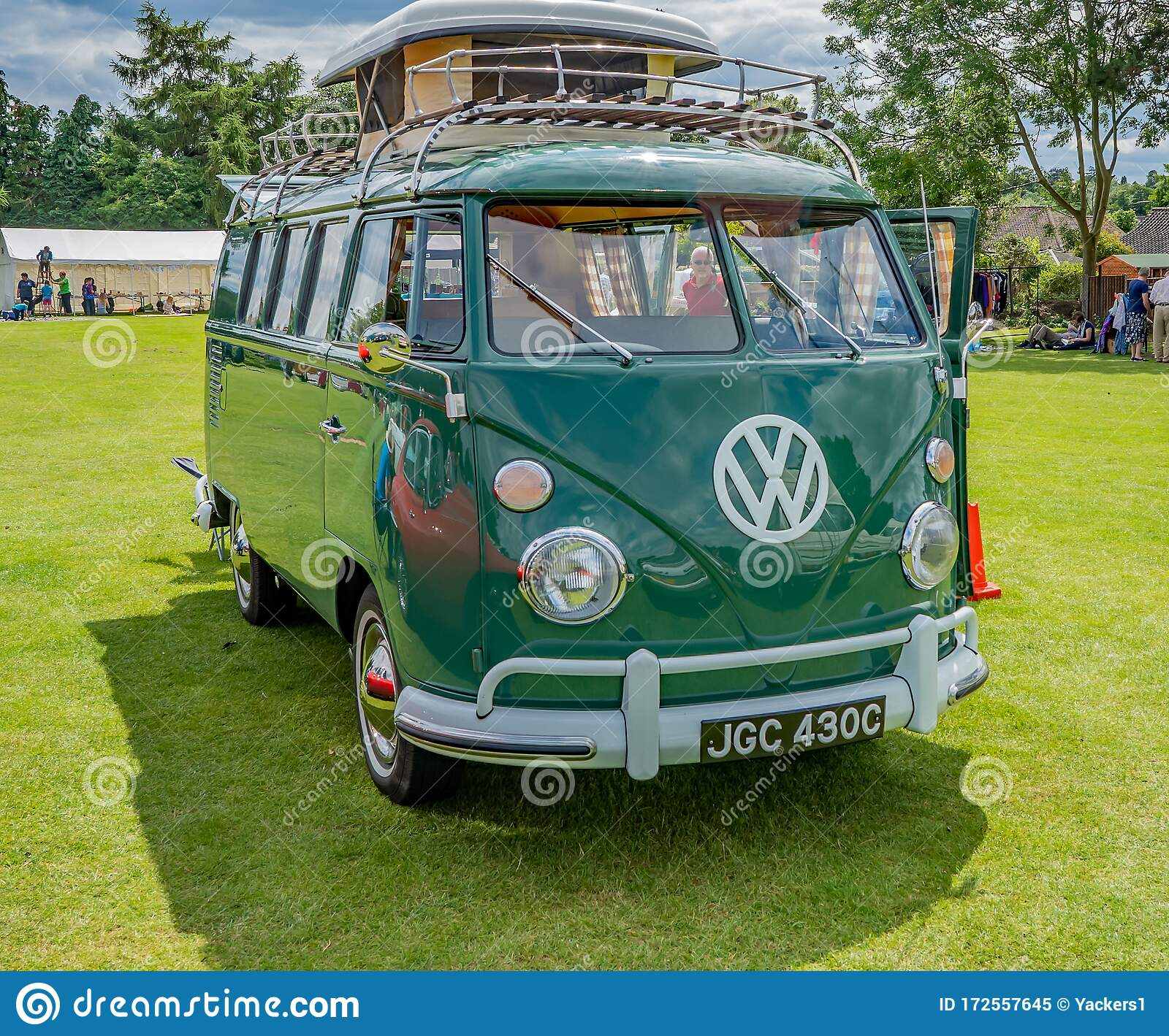 Isolated Classic And Vintage Vw Camper Van In A Green Field Editorial Image Image Of Front Campervan 172557645