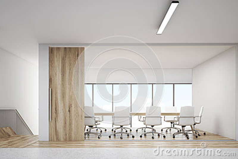 Front View Of Conference Room With Wooden Door Stock Illustration