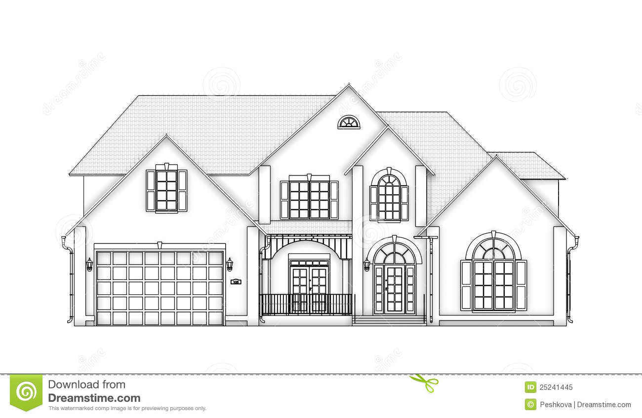 Front View Contour House Stock Illustration Image Of