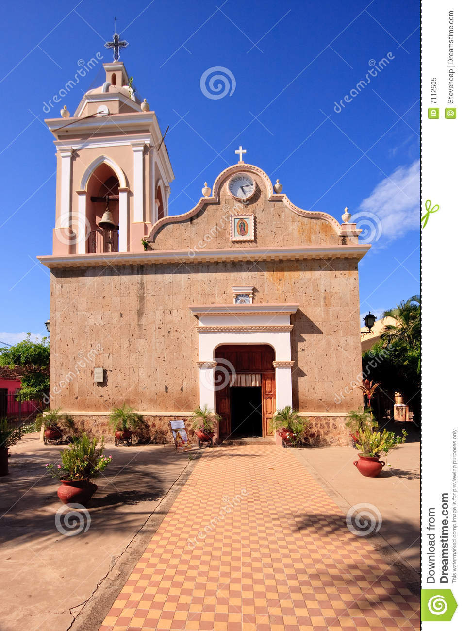 Front view of El Quelite Church in Mexico