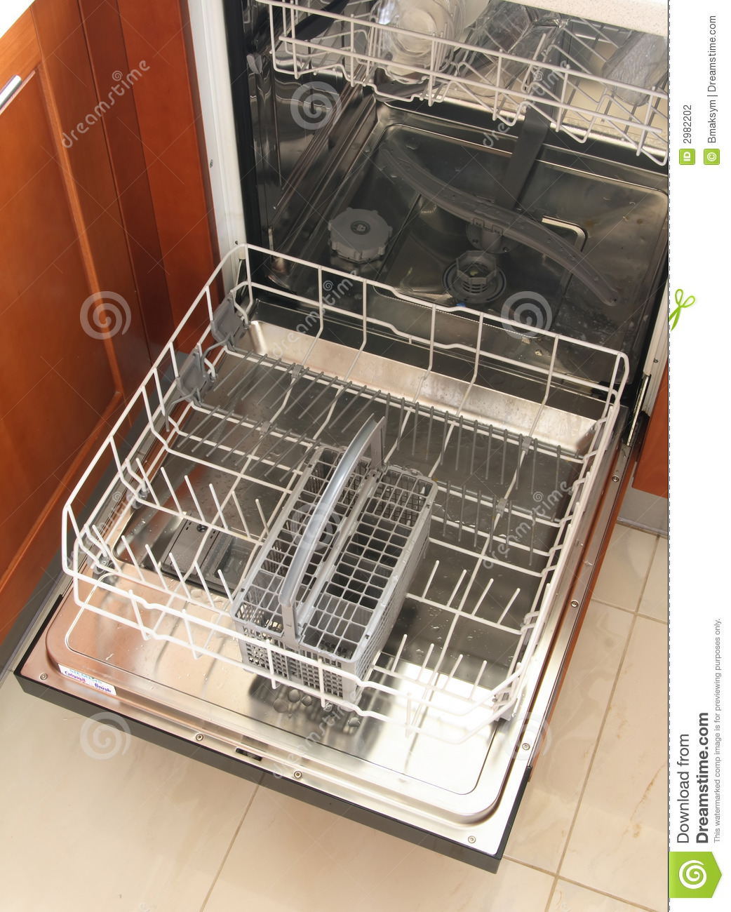 Download Front View Of Empty Dishwasher Stock Photo