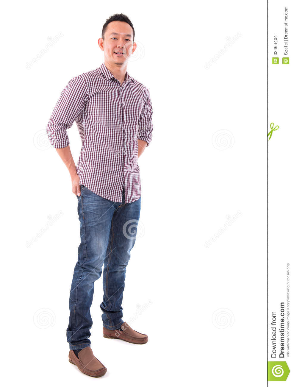 Front View Full Body Confident Asian Man Stock Photo ...