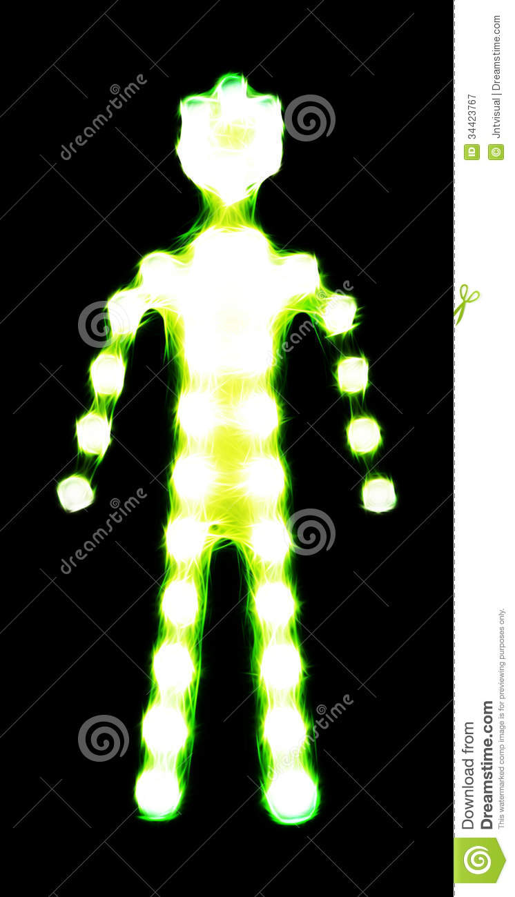 front view of a green glowing standing human silhouette