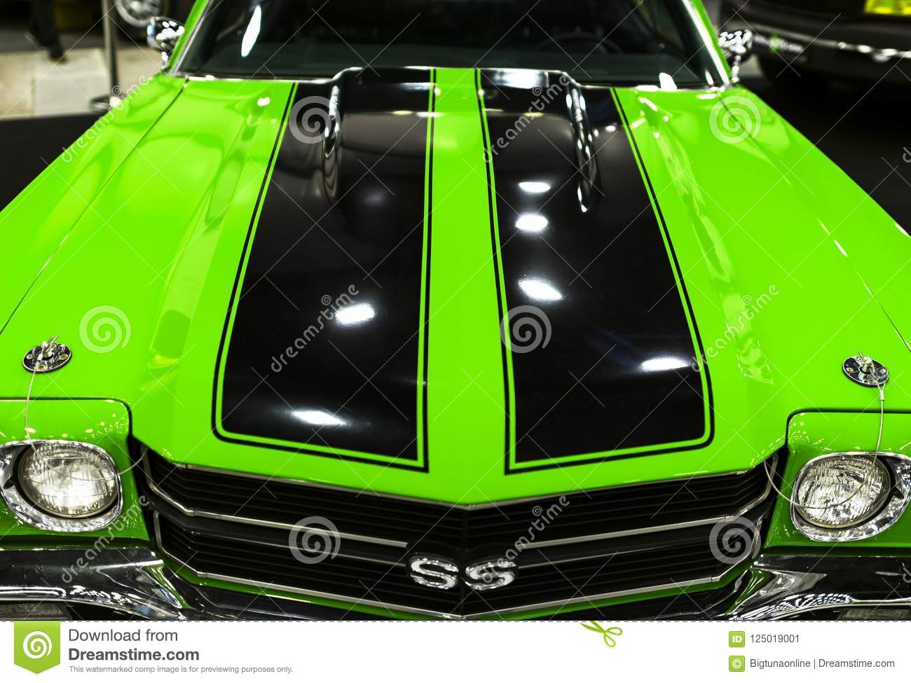 Front View Of A Green Great Retro American Muscle Car Chevrolet