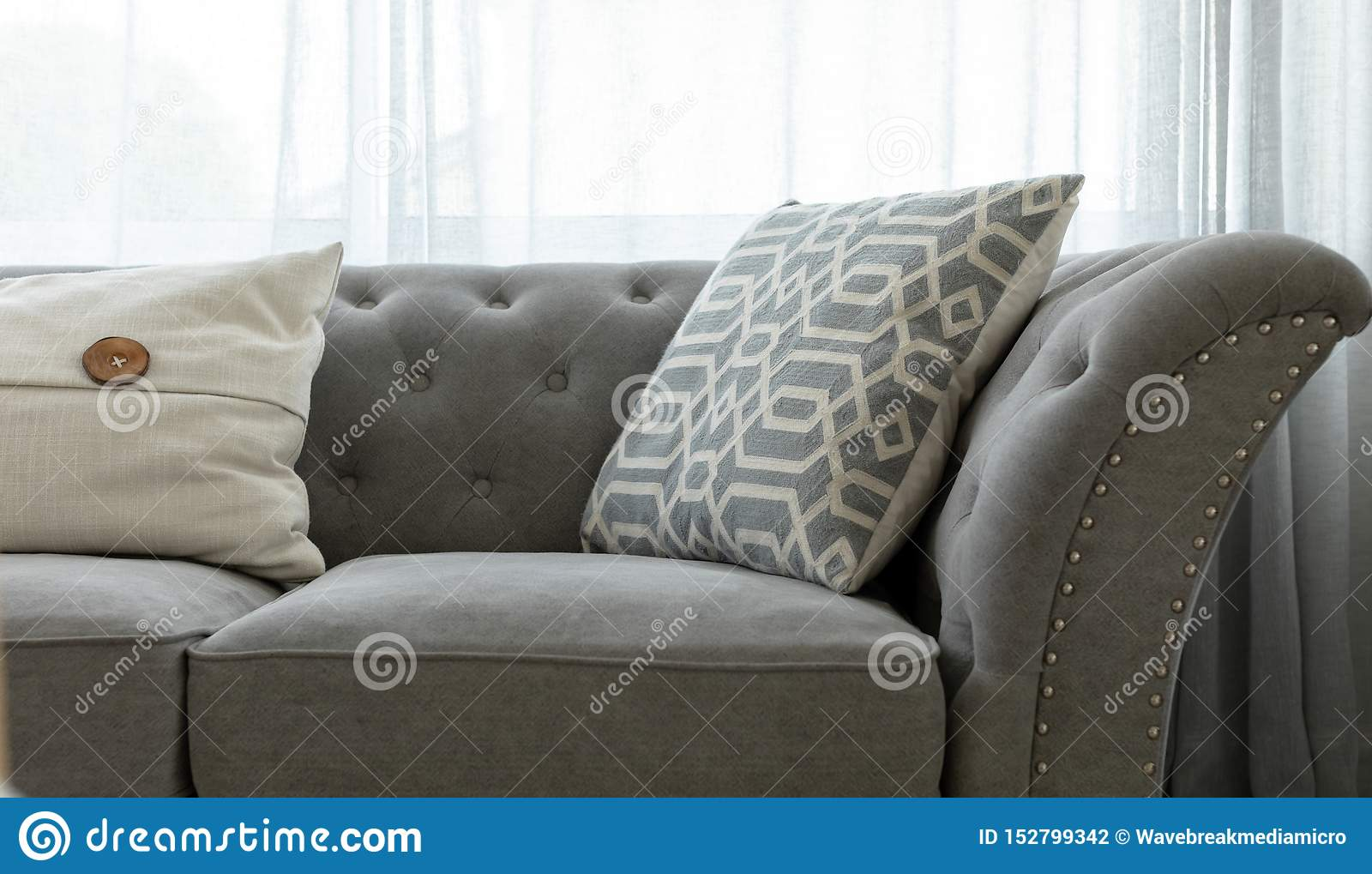 Image of: Grey Couch With Throw Pillows Stock Photo Image Of People Couch 152799342