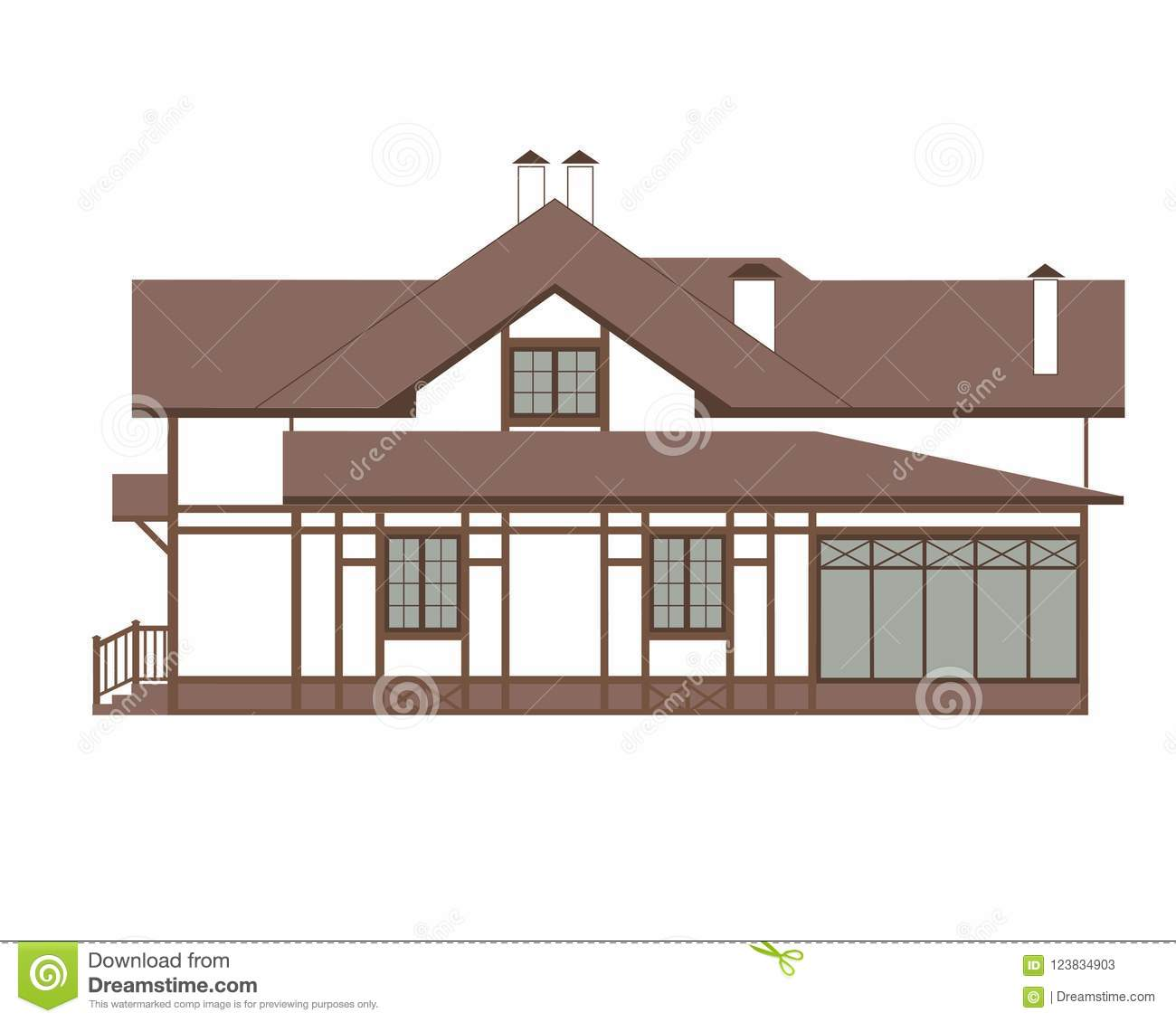 House In The German Style Fachwerk Stock Vector Illustration Of Carcass House 123834903