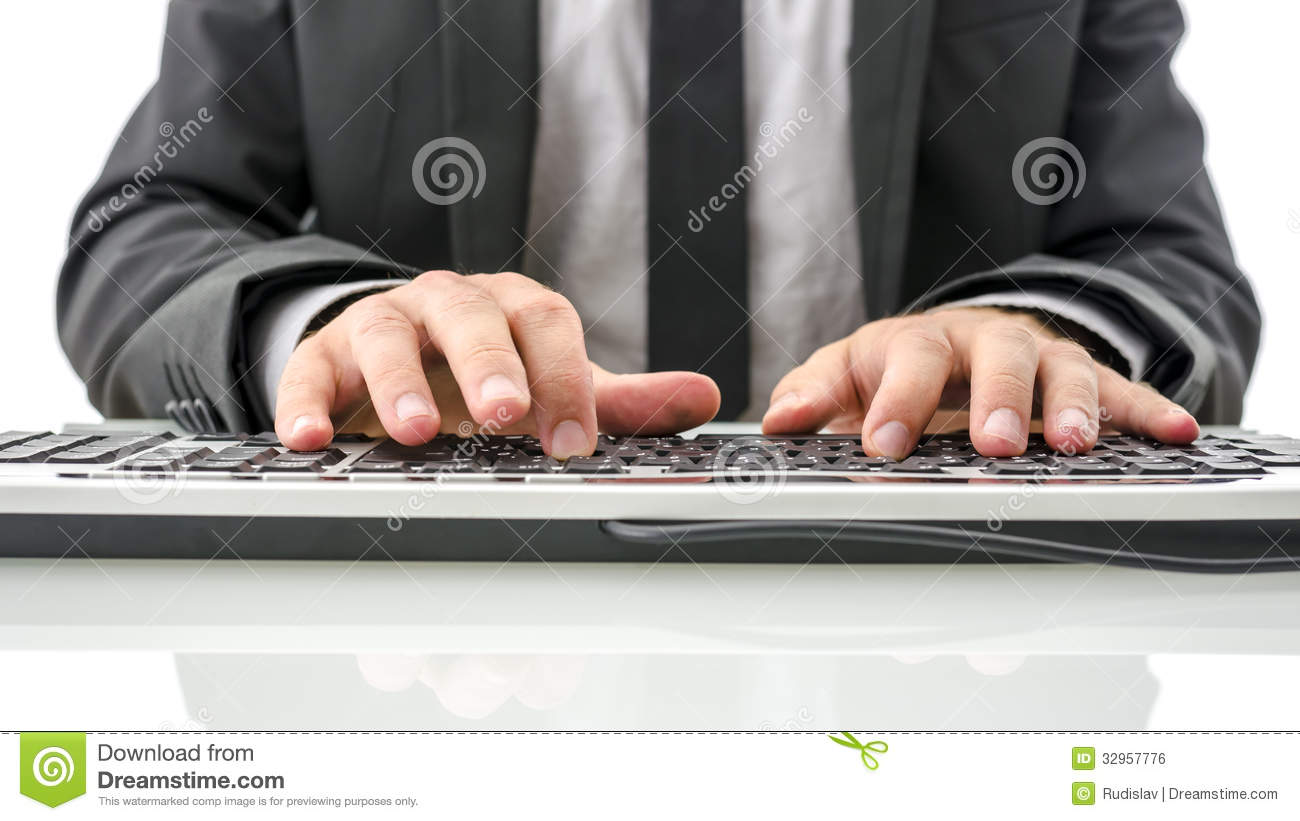 Front View Of Insurance Agent Typing On Computer Royalty