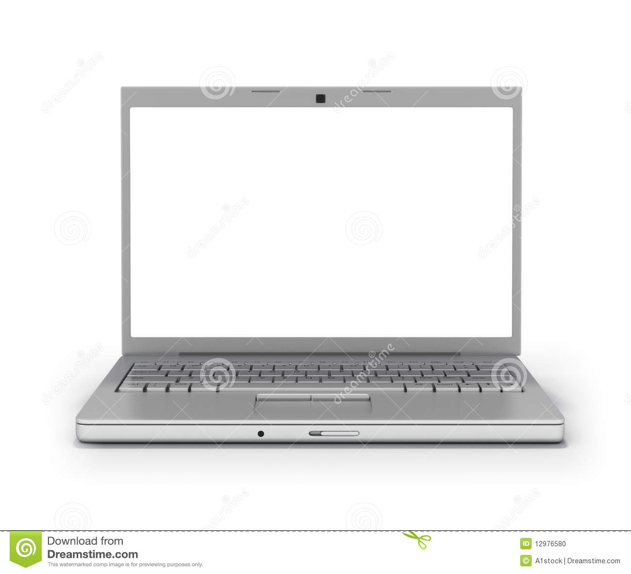 Front View Laptop Blank Screen [Clipping Path] Stock ...