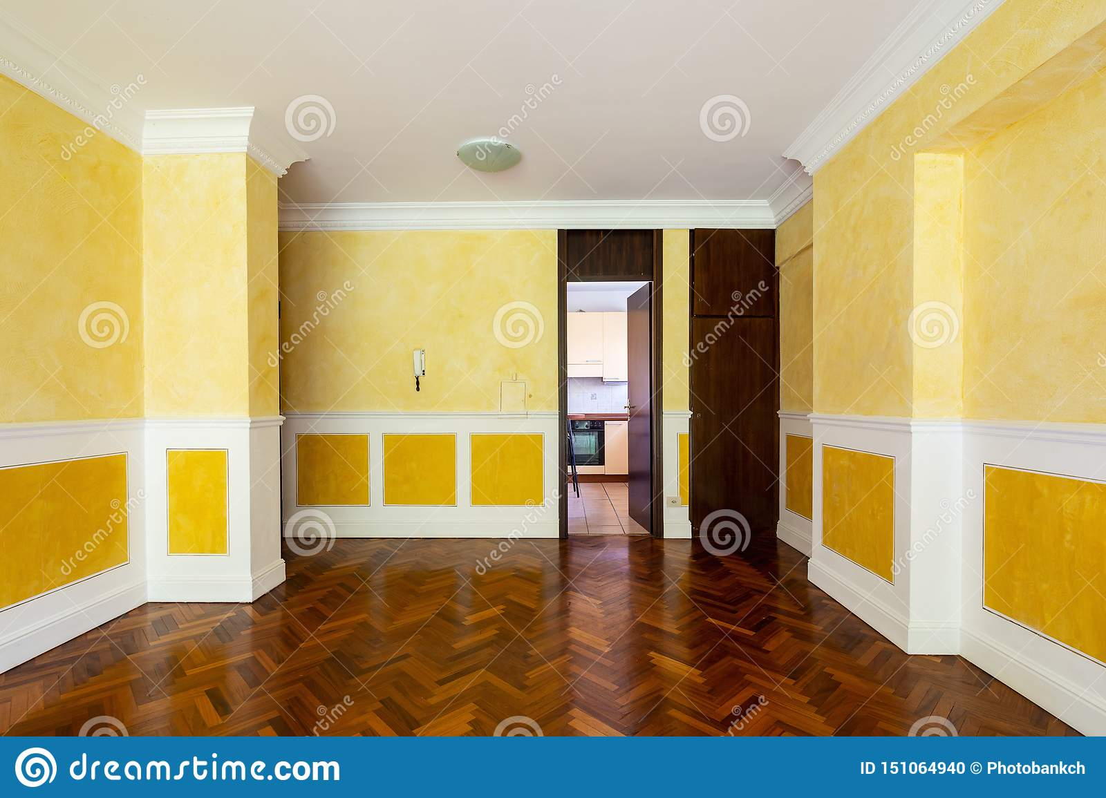 Front View Living Room With Door To Kitchen Stock Photo Image Of Flat Interior 151064940