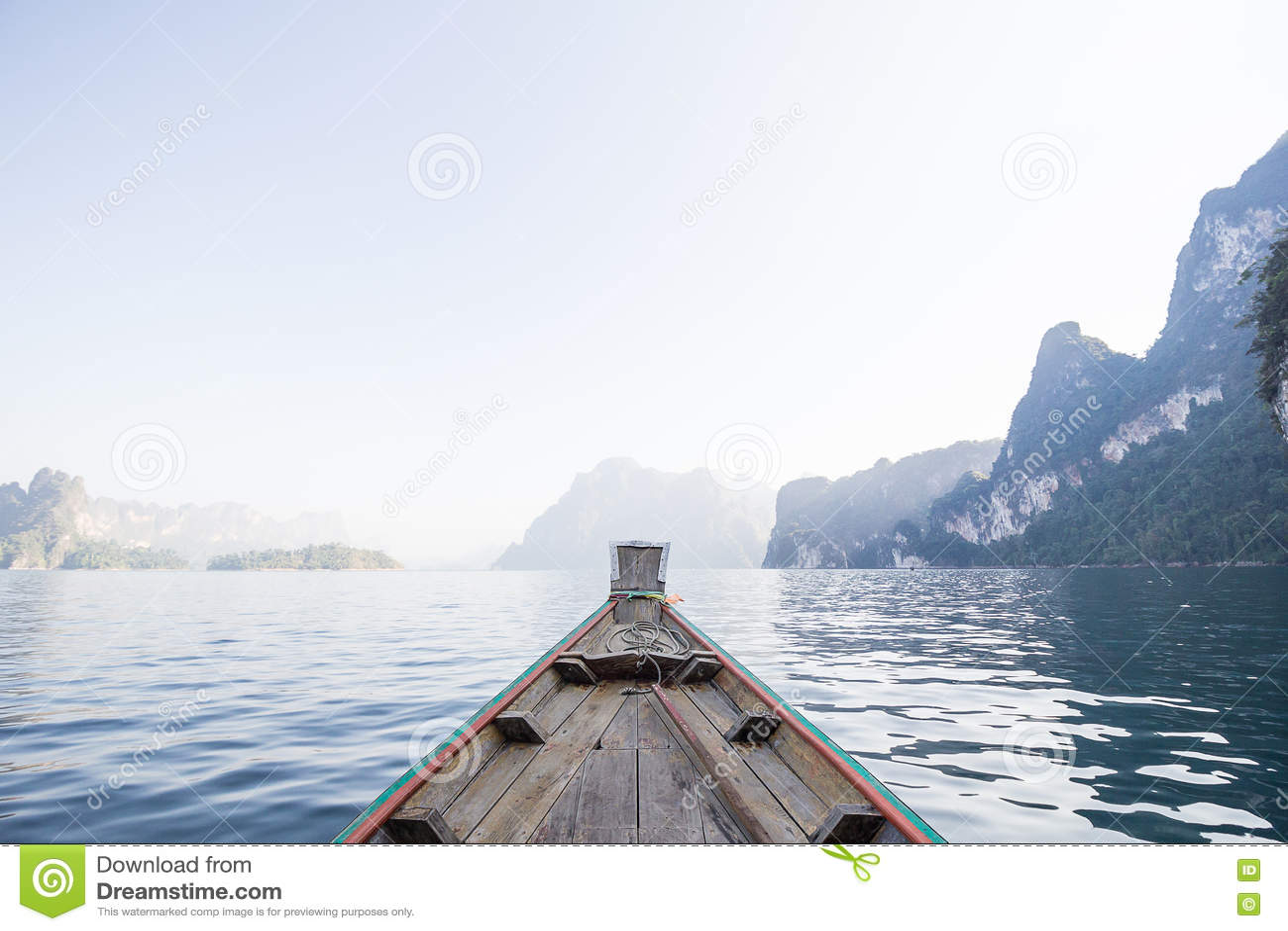 Front View Long Tail Boat At The Lake Stock Photo - Image ...
