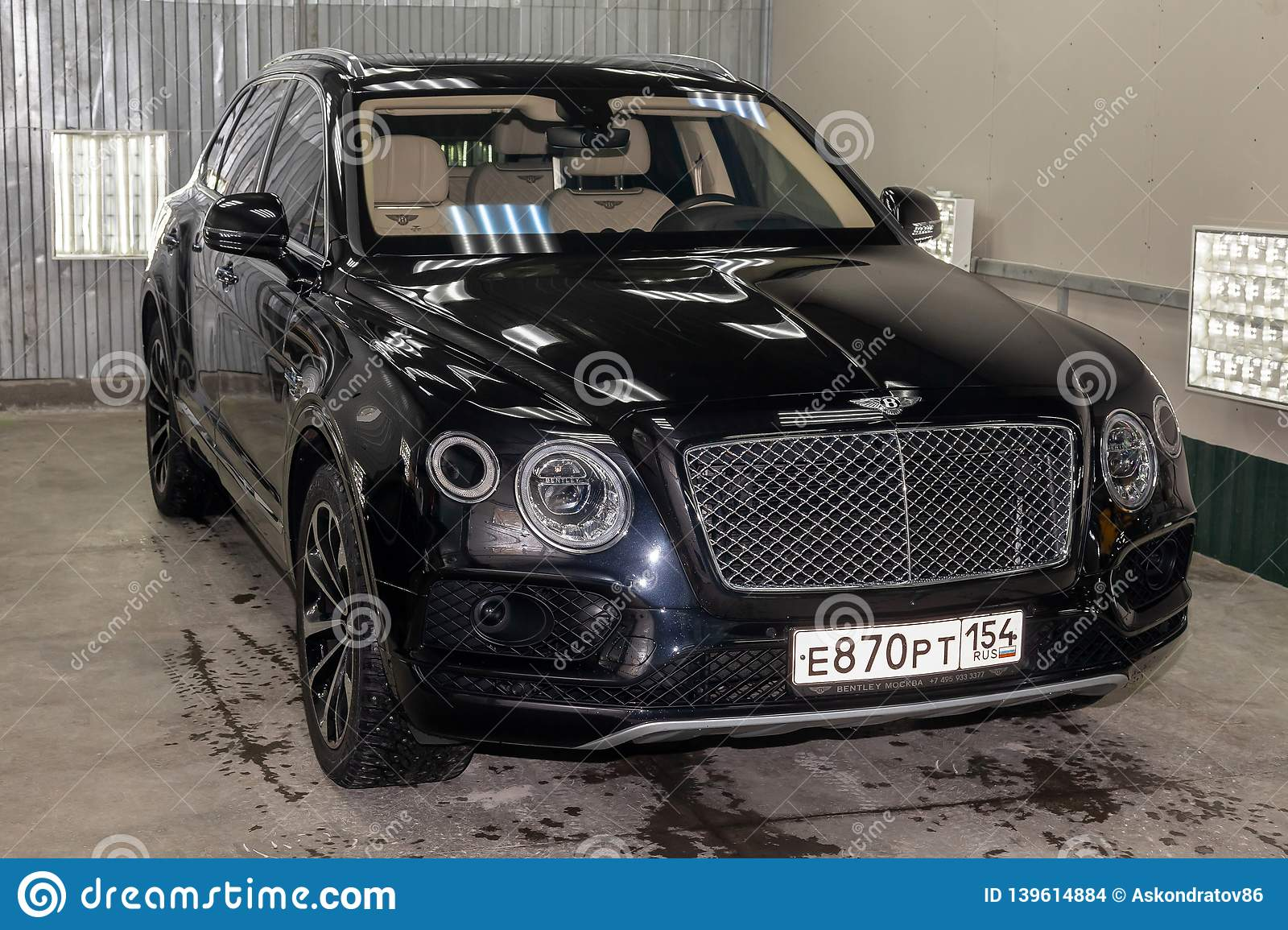 Front View Of Luxury Very Expensive New Black Bentley Bentayga Car Stands In The Washing Box Waiting For Repair In Auto Service Editorial Stock Image Image Of British Elegant 139614884