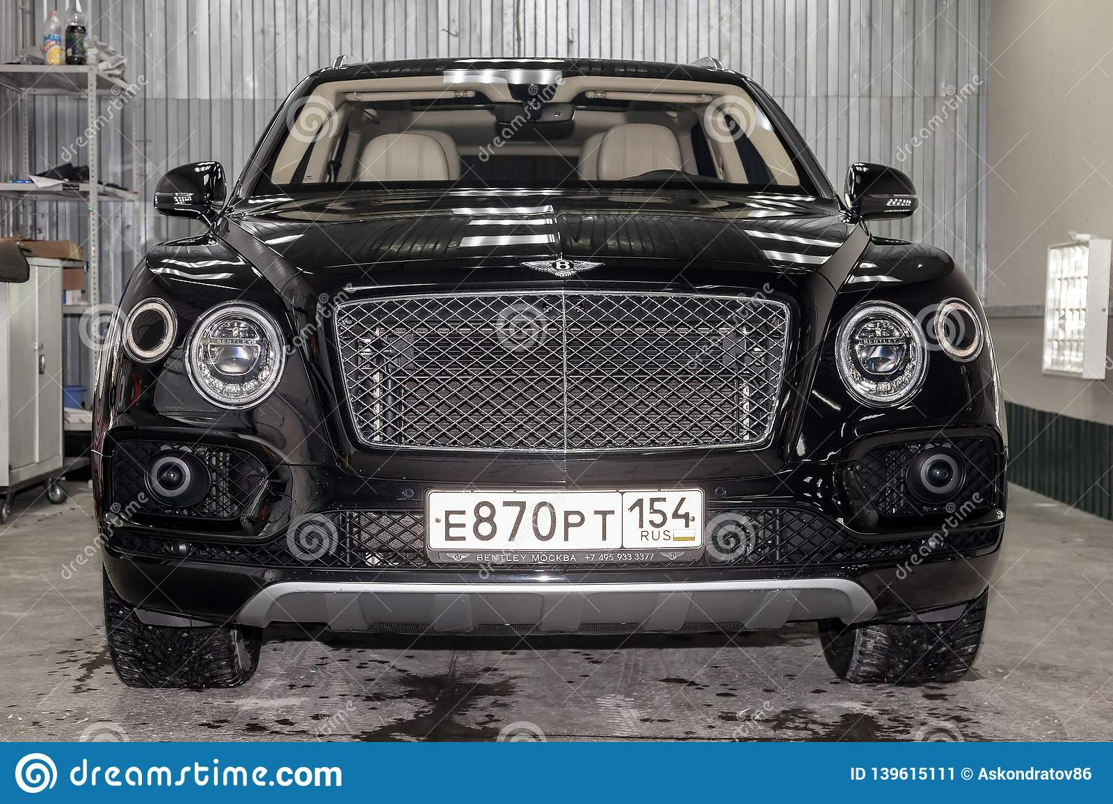 Front View Of Luxury Very Expensive New Black Bentley Bentayga Car Stands In The Washing Box Waiting For Repair In Auto Service Editorial Photo Image Of Design Door 139615111