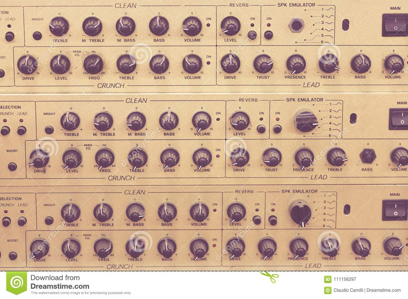 Front View Of A Mixer Sound Check Level Cursor Stock Image - Image