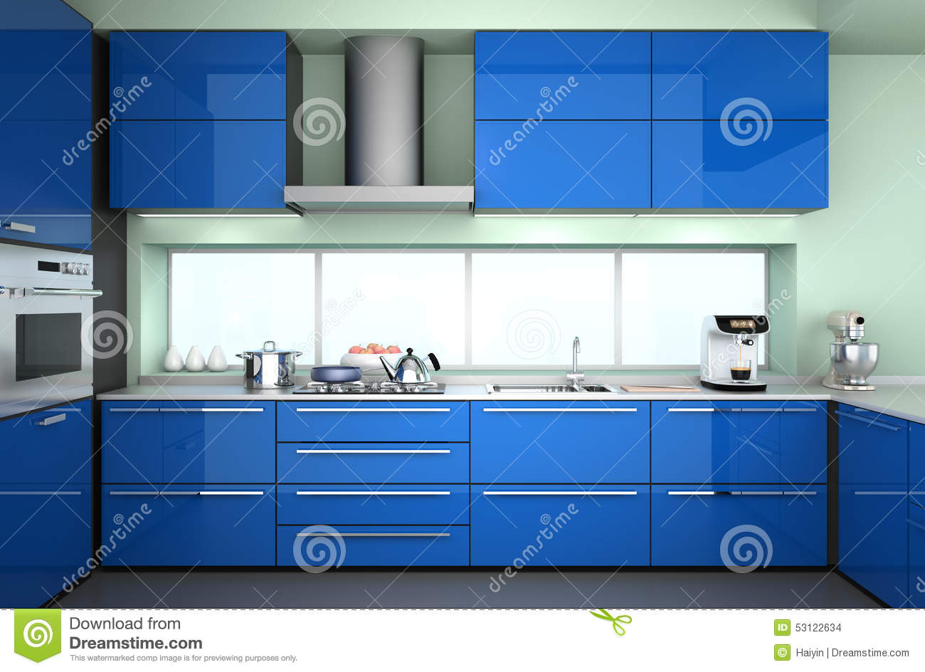 front view of modern kitchen interior with stylish coffee maker food mixer stock photo image. Black Bedroom Furniture Sets. Home Design Ideas