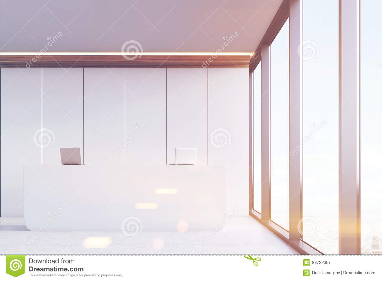 Front View, Office Reception, White Panels, Toned Stock Illustration