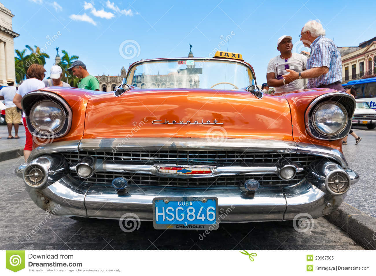 Front View Of An Old Chevrolet In Havana Editorial Image